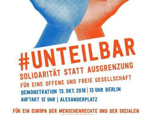 #unteilbar Demo 13.10. in Berlin – Mach mit beim Block von Aufstehen gegen Rassismus