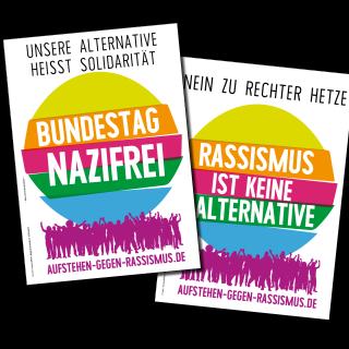 """Aufkleber """"Bundestag Nazifrei"""" & """"Rassismus ist keine Alternative"""""""